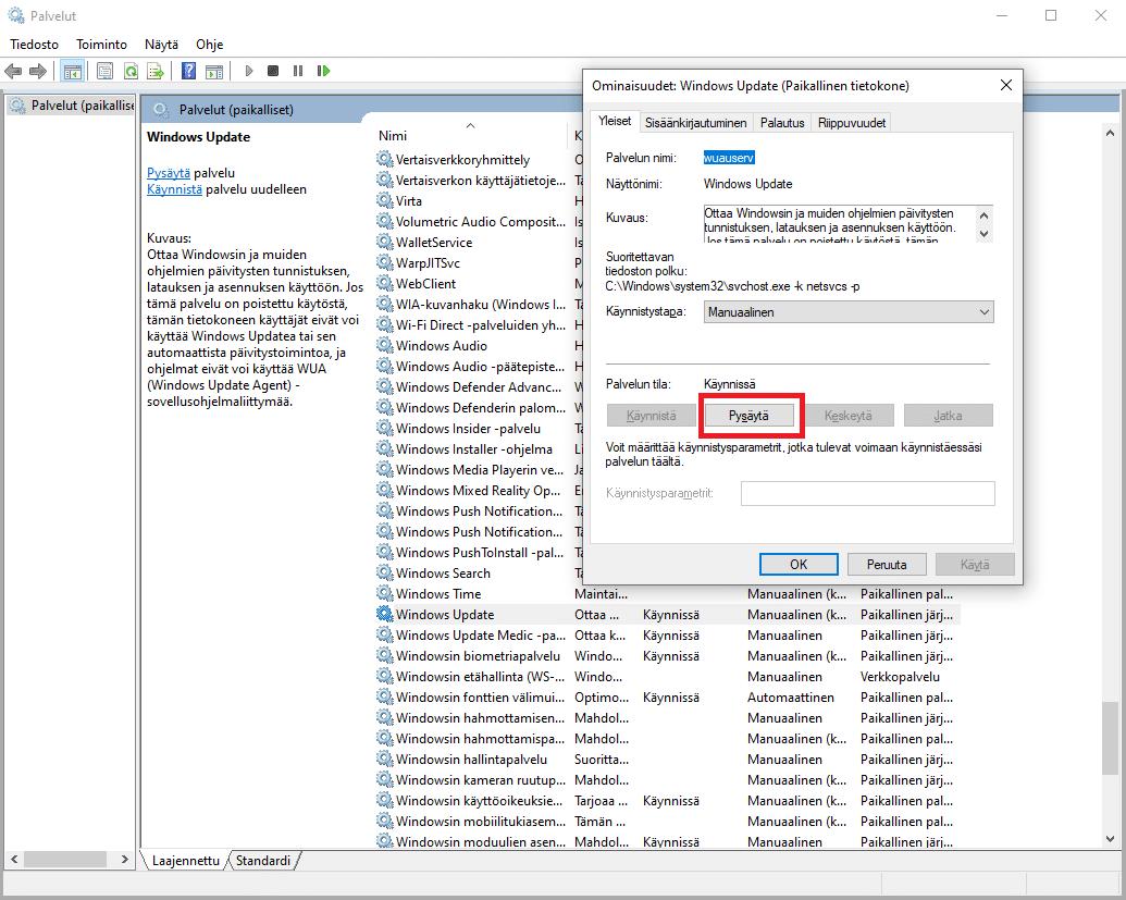 Pysäytä Windows 10 päivityspalvelu