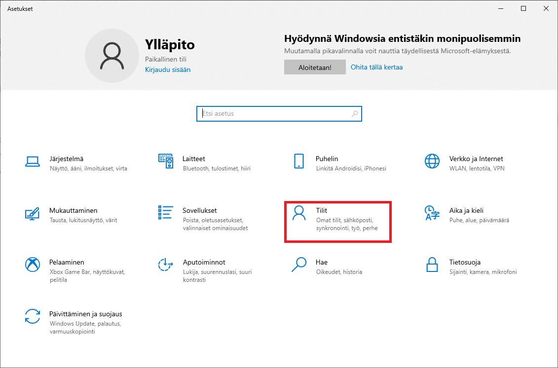 Windows 10 käyttäjätilit