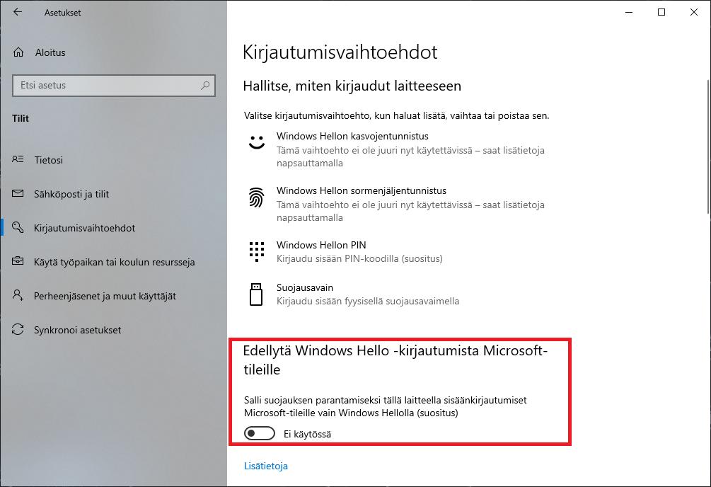 Windows 10 Hello kirjautuminen