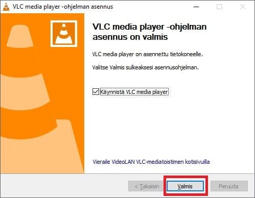 Windows 10 vlc mediasoittimen asennus valmis.